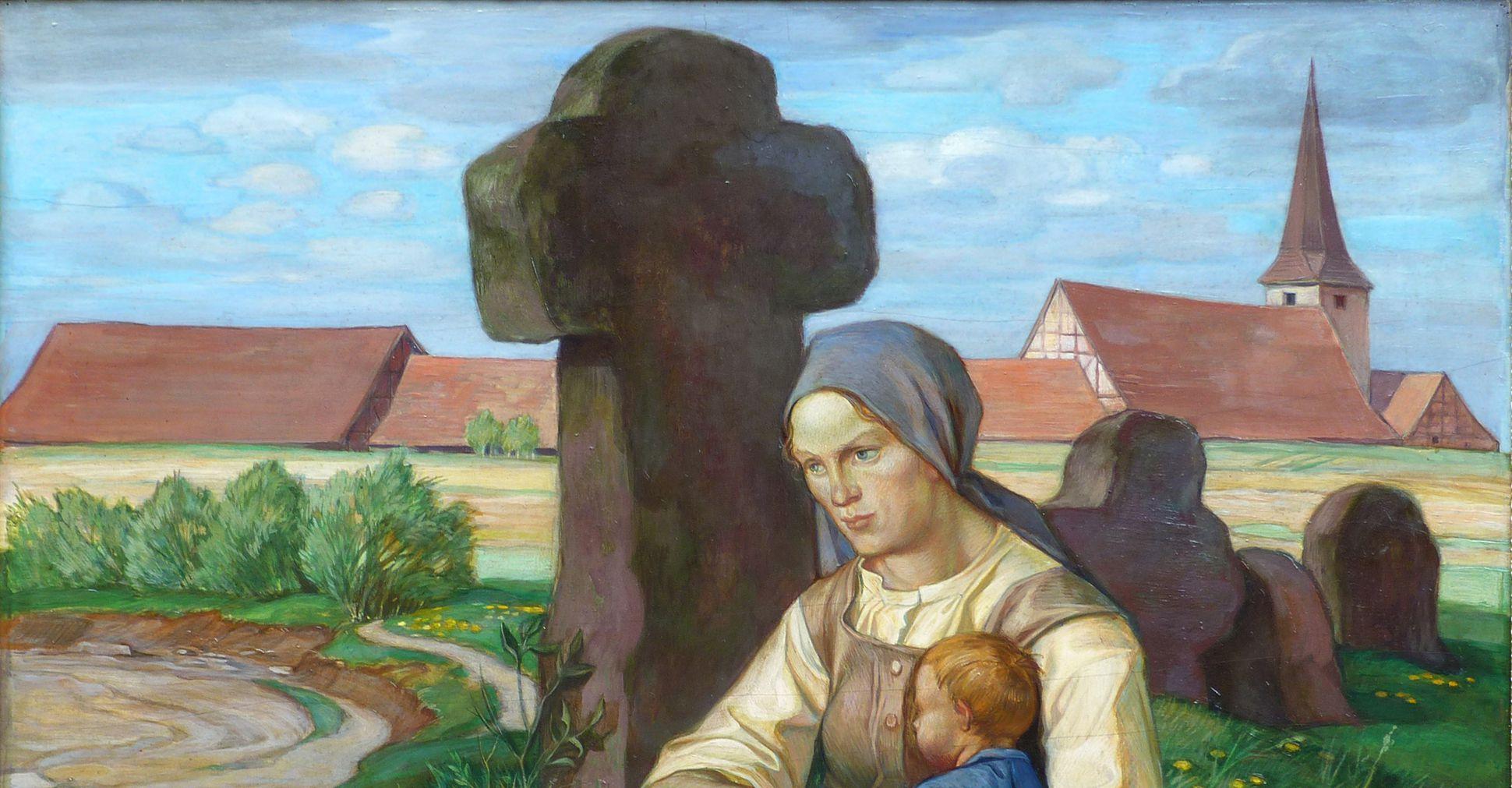 Frau am Steinkreuz obere Bildhälfte