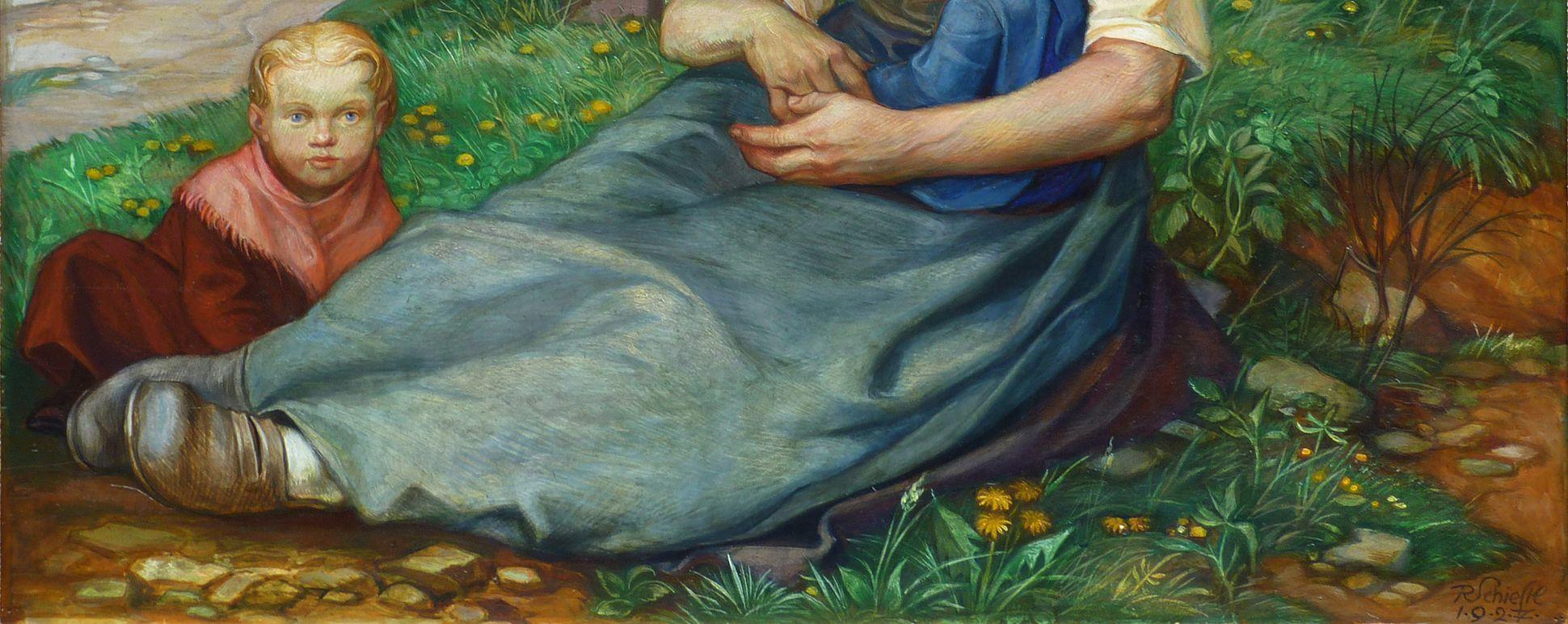 Frau am Steinkreuz untere Bildhälfte