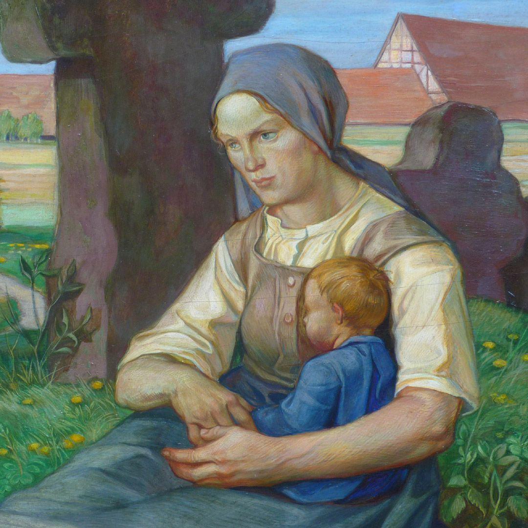 Frau am Steinkreuz Detail mit Frau und Kleinkind