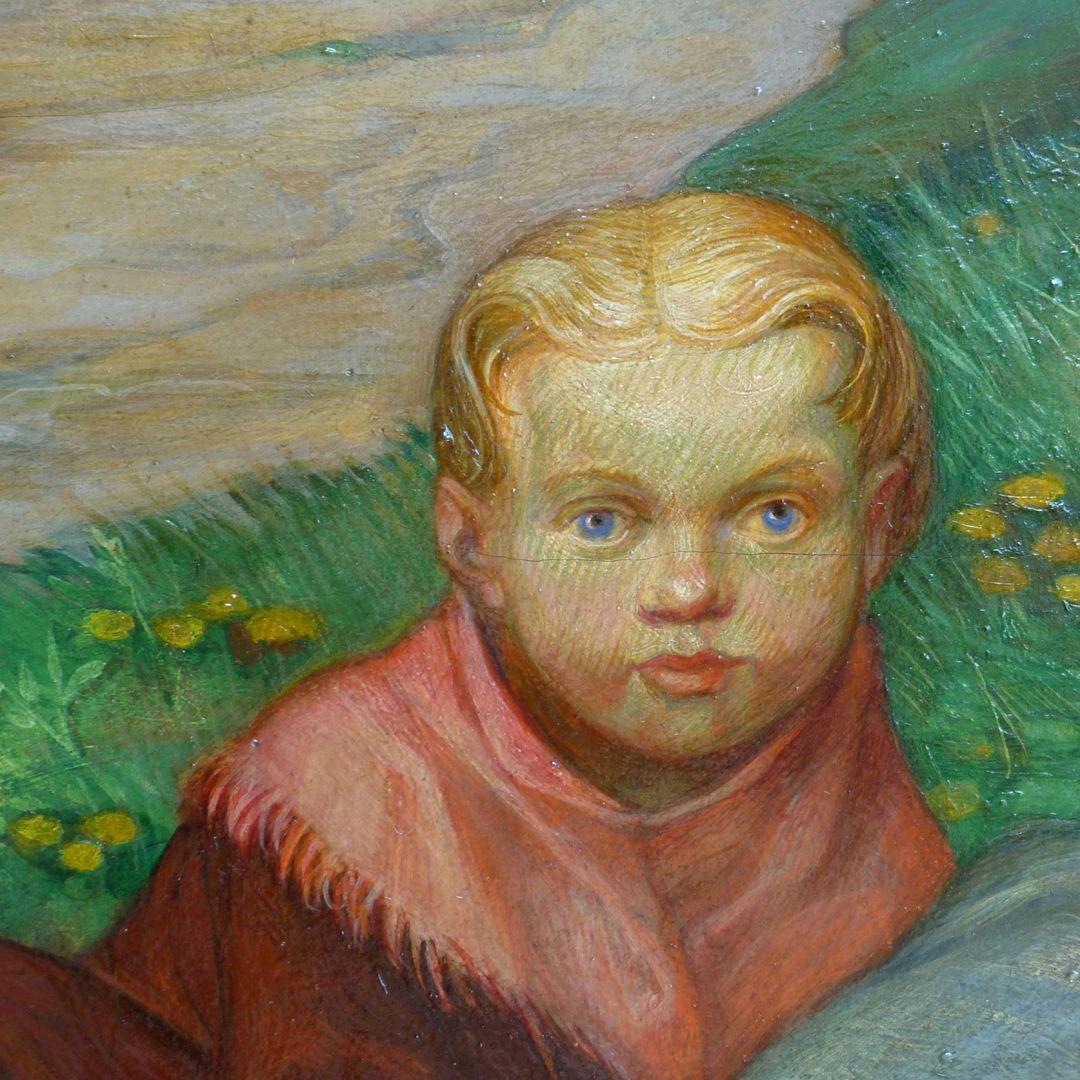 Frau am Steinkreuz Detail mit Kinderportrait