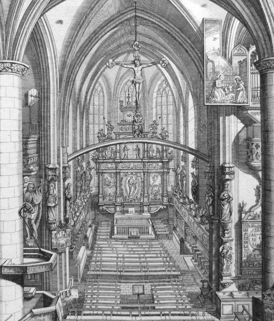 """Urbis Norimbergensis Insigniorum Templorum …"" Frauenkirche Blick in den Chorraum"