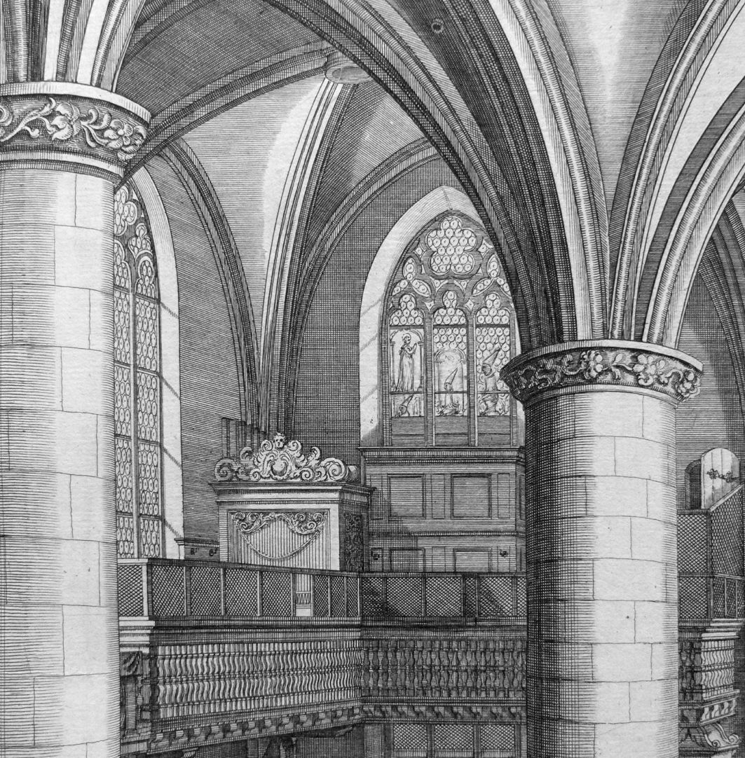 """Urbis Norimbergensis Insigniorum Templorum …"" Frauenkirche Blick auf die linke Empore"