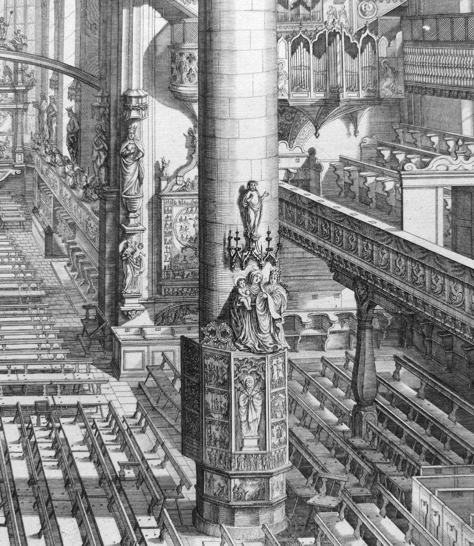 """""""Urbis Norimbergensis Insigniorum Templorum …"""" Frauenkirche Blick in der Kirchenraum"""