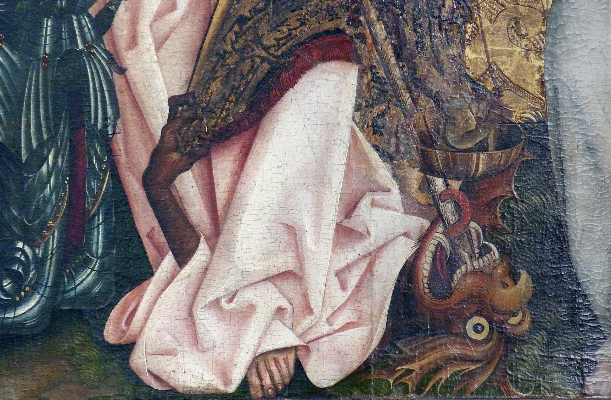 Epitaph für den königlichen Küchenmeister Michael Raffael Detail mit Drachen, Waagschale mit Teufelchen