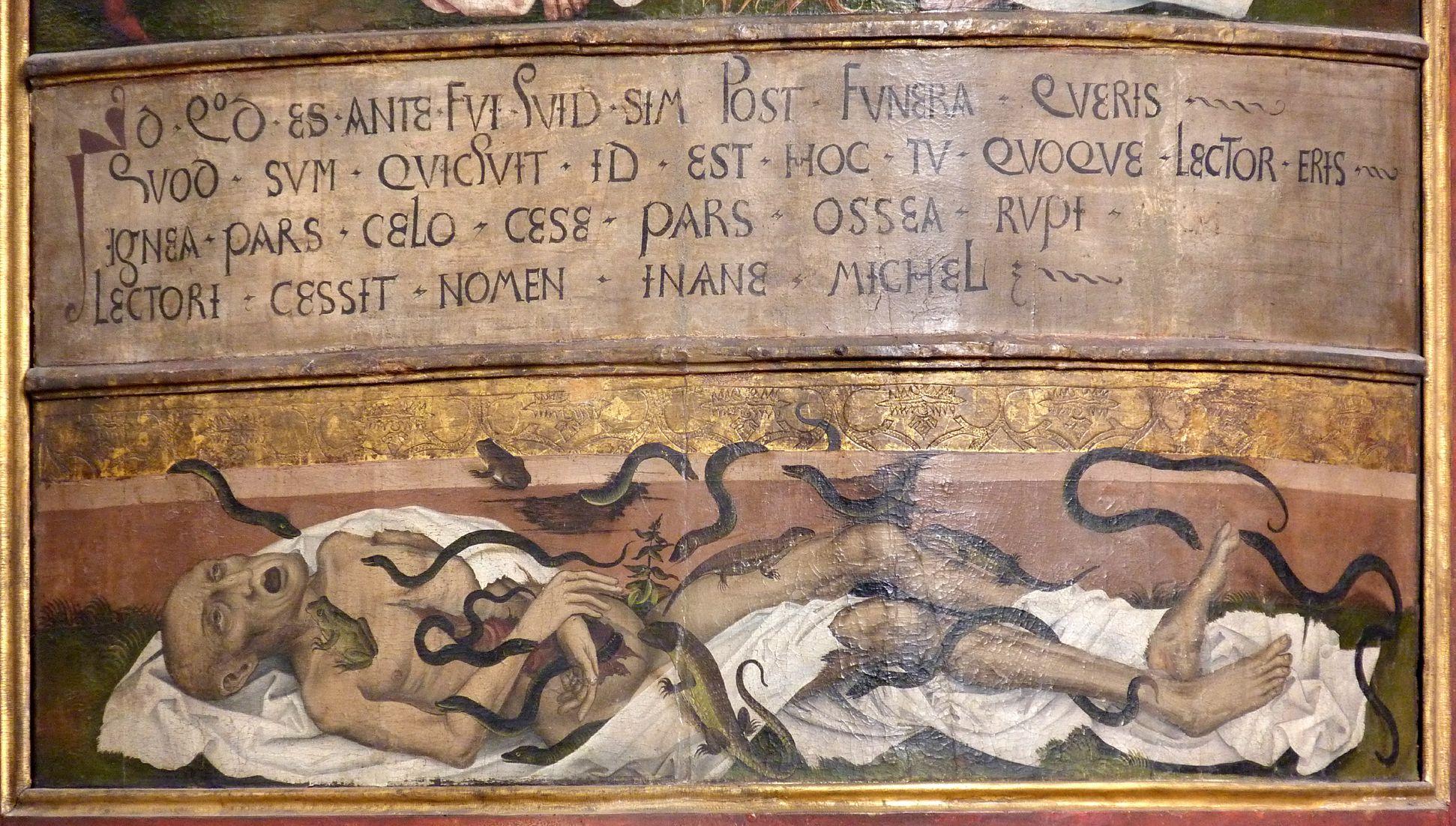 Epitaph für den königlichen Küchenmeister Michael Raffael Inschrift und von Reptilien zerfressener Leichnahm