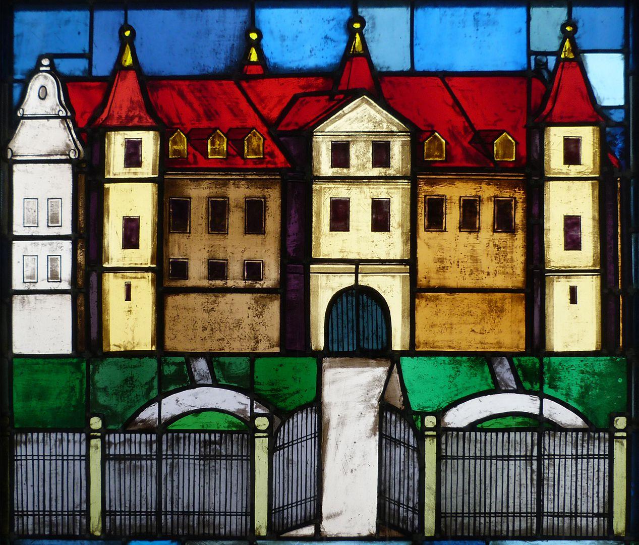 Glasfenster zur Stadtgeschichte Treppenaufgang zum dritten Stock, Neunhof bei Lauf, Neues Schloss (Eingemeindung 1972)