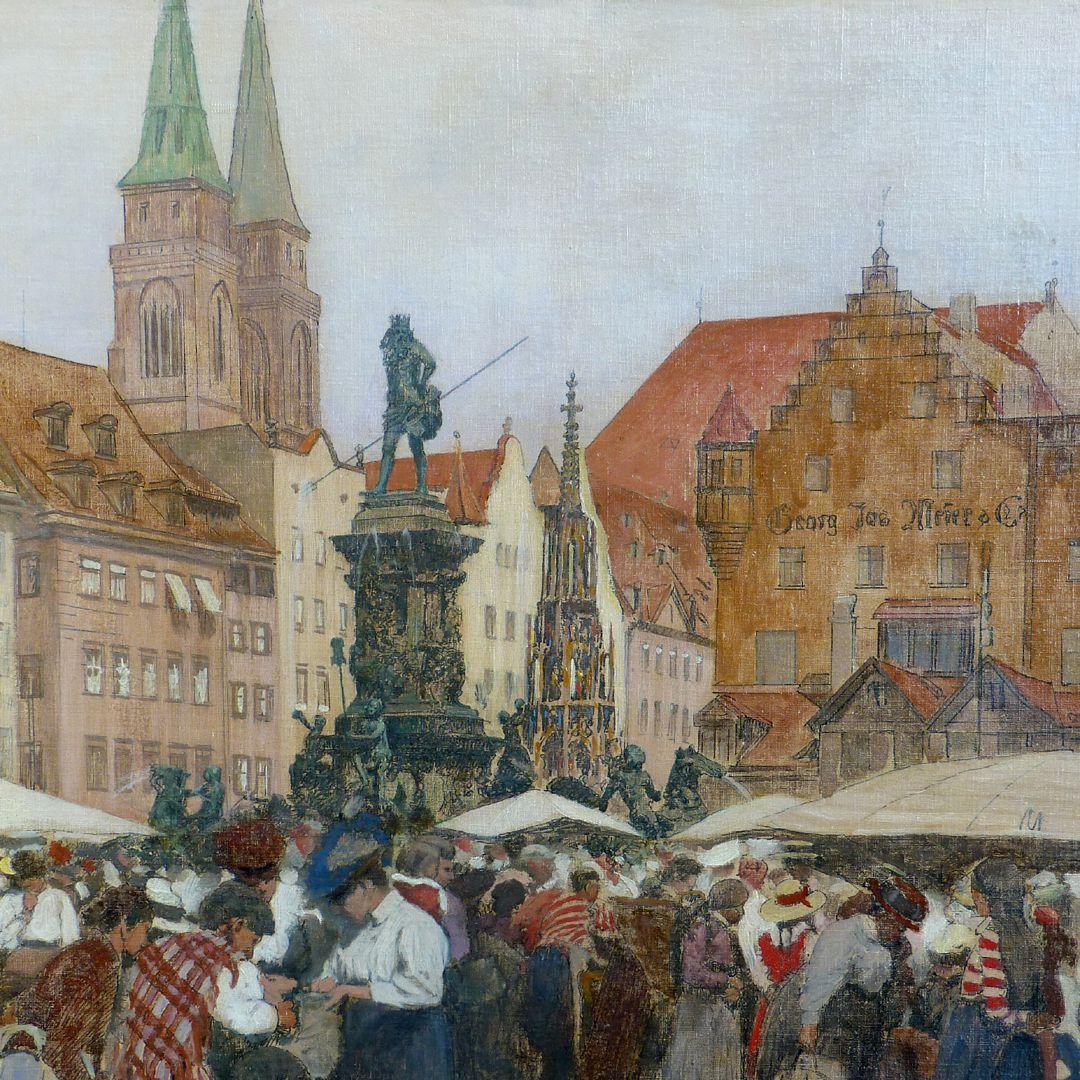 Hauptmarkt in Nürnberg Sebalduskirche, Neptunbrunnen, Schöner Brunnen