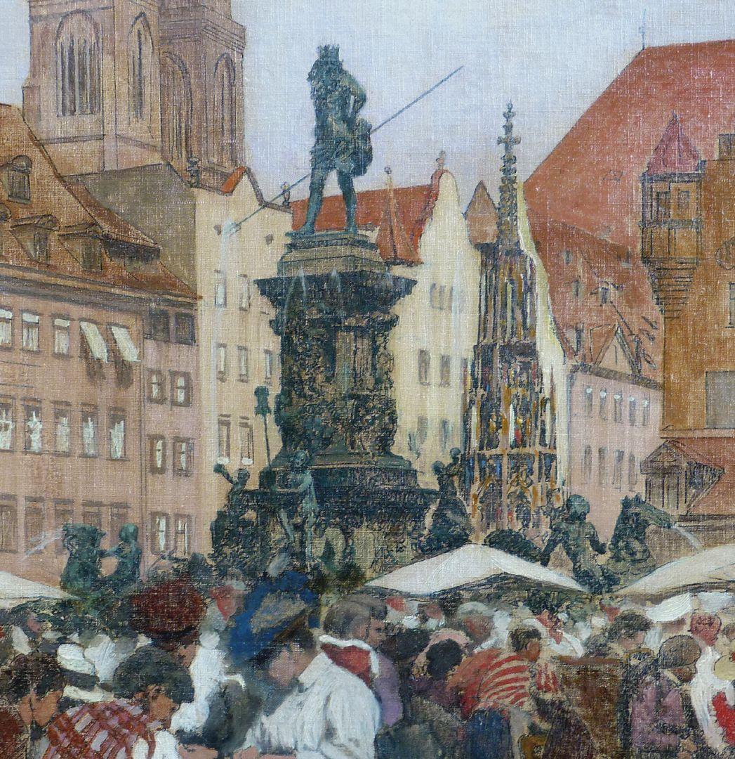 Hauptmarkt in Nürnberg Neptunbrunnen und Schöner Brunnen