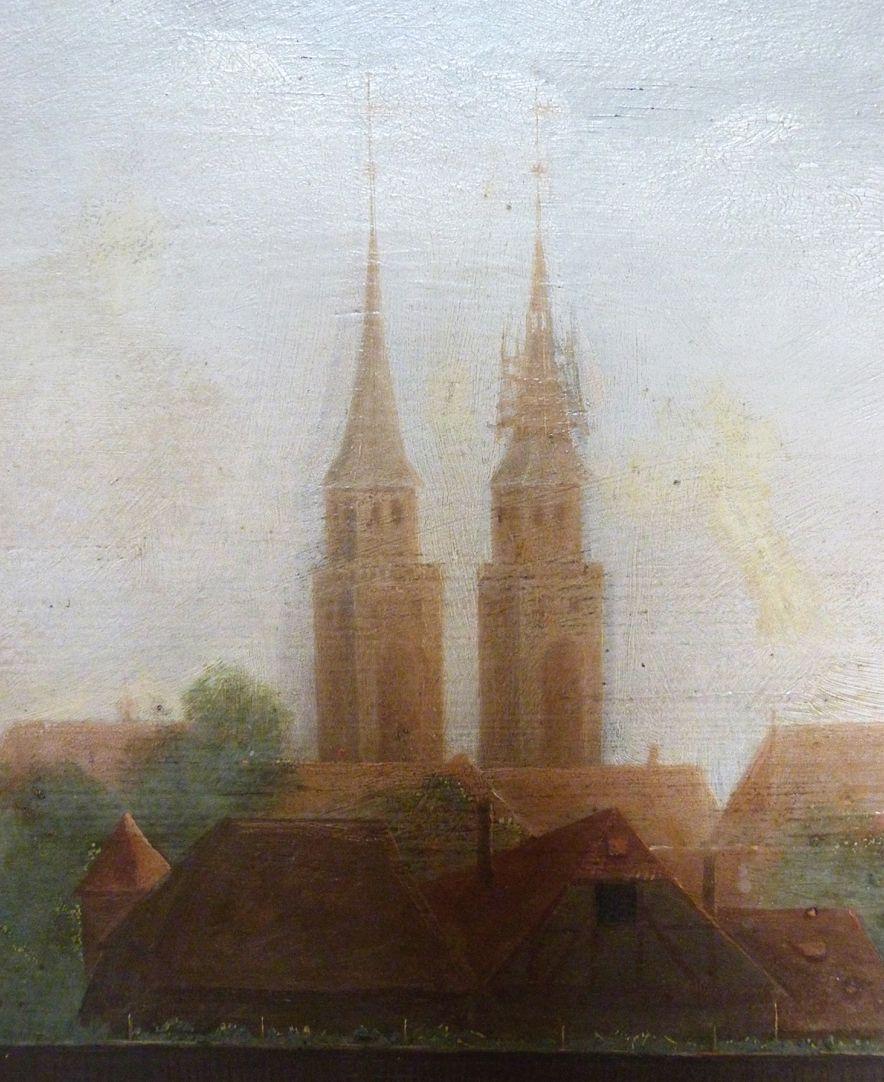 """""""Die Jünger raufen am Sabbath Ähren aus"""" Detail der Sebalduskirche mit eingerüstetem Turmhelm"""