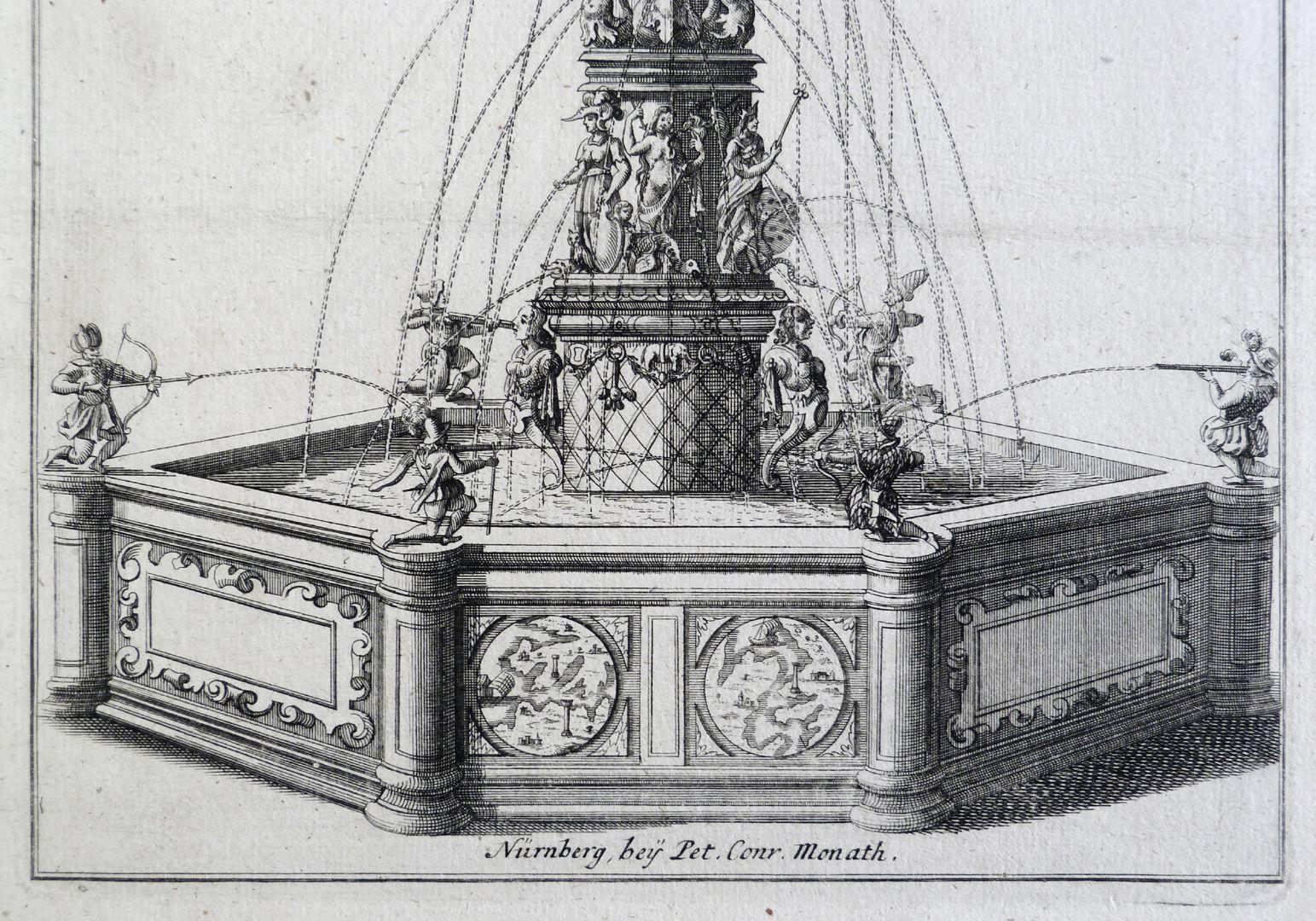 Neptunbrunnen Brunnenbecken, Die Kriegergestalten als Anspielung an die Lepantoschlacht (1571)?
