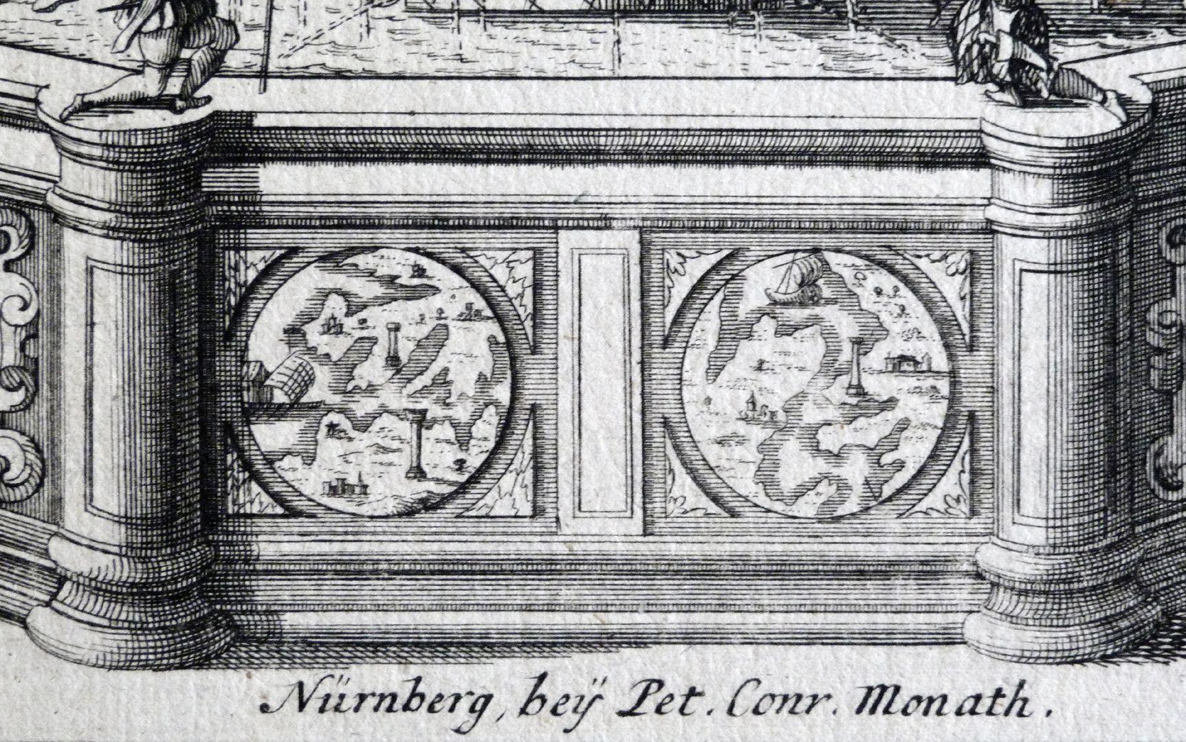 Neptunbrunnen Signatur von Peter Conrad Monath, darüber Beckenwange mit zwei Tondi: links die Herkulessäulen? rechts der Golf von Patras?