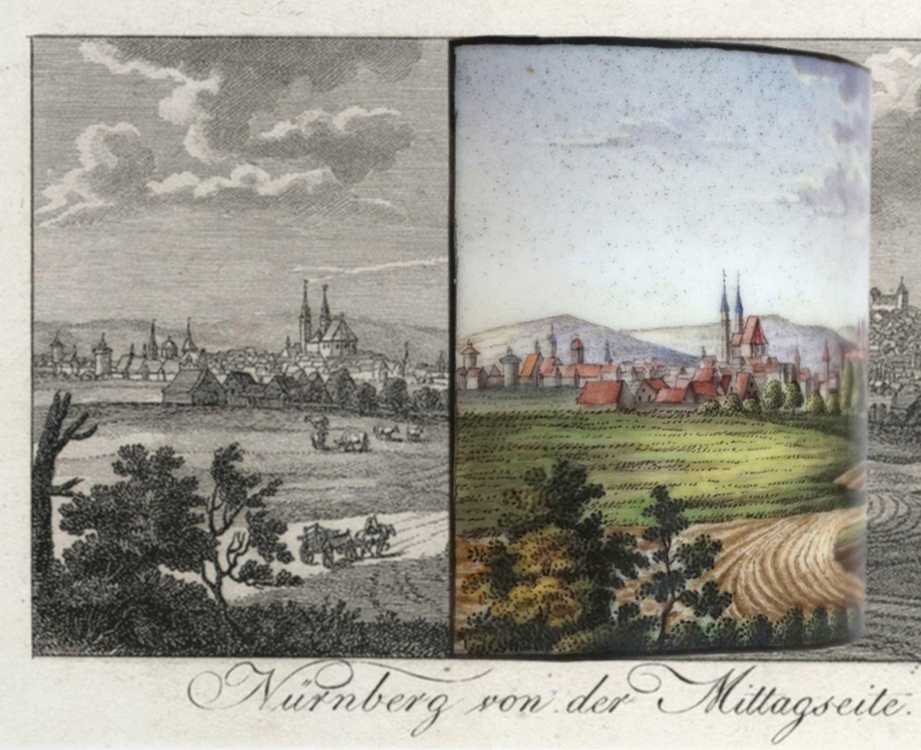 """Tasse mit Nürnberg-Ansicht von """"der Mittagsseite"""" (Süden) Bildvergleich mit Vorlage und Bildausschnitt der Tasse"""