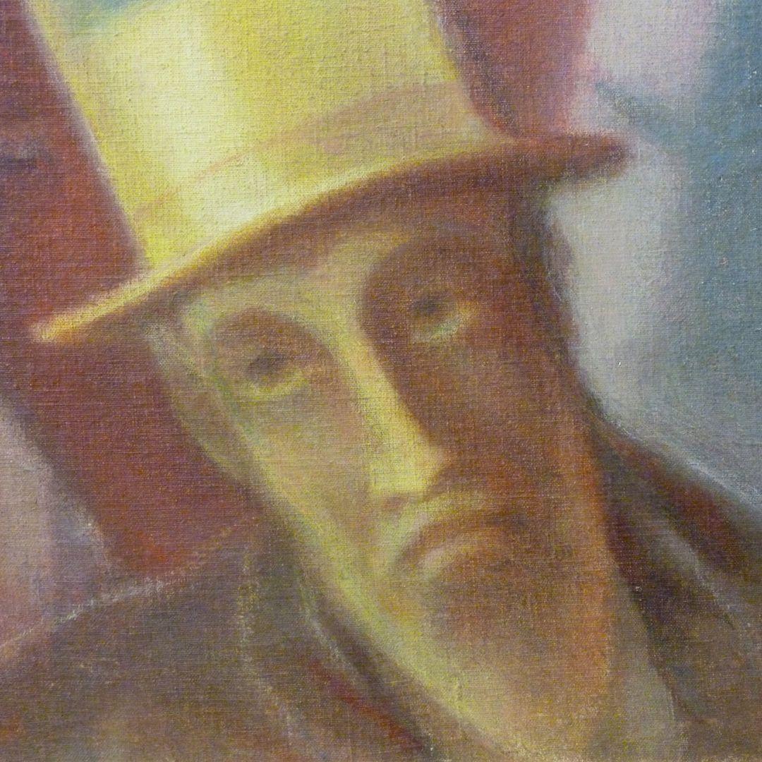 Mann mit Zylinder Detail