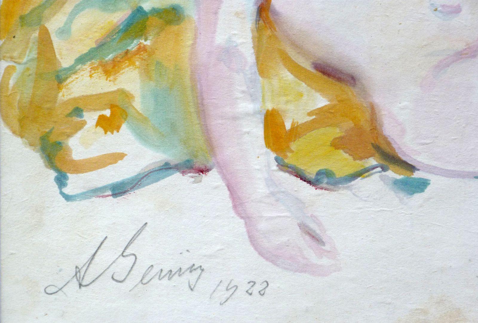 Weiblicher Akt Detail mit Künstlersignatur