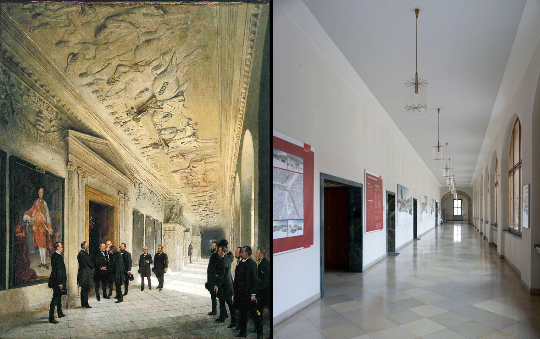 Gesellenstechen links: Gemälde von Paul Ritter von 1888 / rechts: gleiche Stelle im Jahre 2021