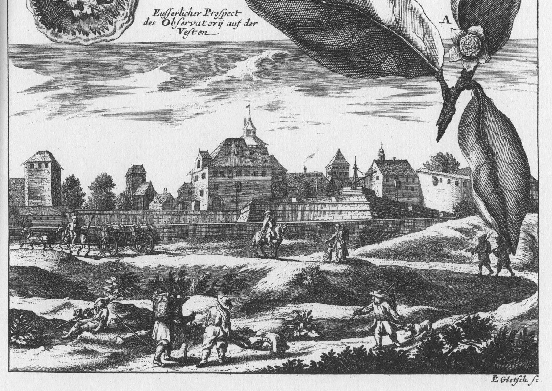 """""""Eusserlicher Prospect des Observatorij auf der Vesten"""" untere Blatthälfte"""