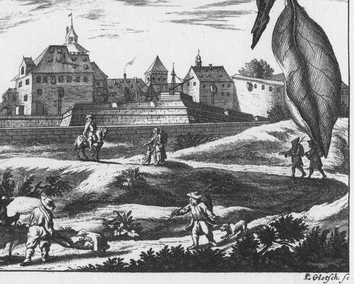 """""""Eusserlicher Prospect des Observatorij auf der Vesten"""" untere Blatthälfte, Detailansicht mit Künstlersignatur"""