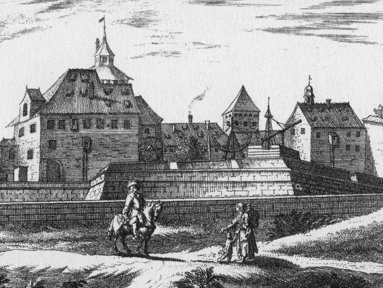 """""""Eusserlicher Prospect des Observatorij auf der Vesten"""" Detailansicht mit Observatorium"""