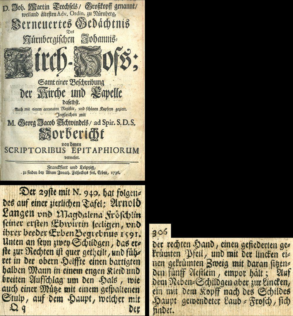 "Heiliger Sebastian Auszug aus Joh. Martin Trechsels, Großkopf genannt: ""Verneuertes Gedächtnis des nürnbergischen Johannis Kirch Hof ..."" , Franckf. & Leipzig 1736 / Seite 305 306"