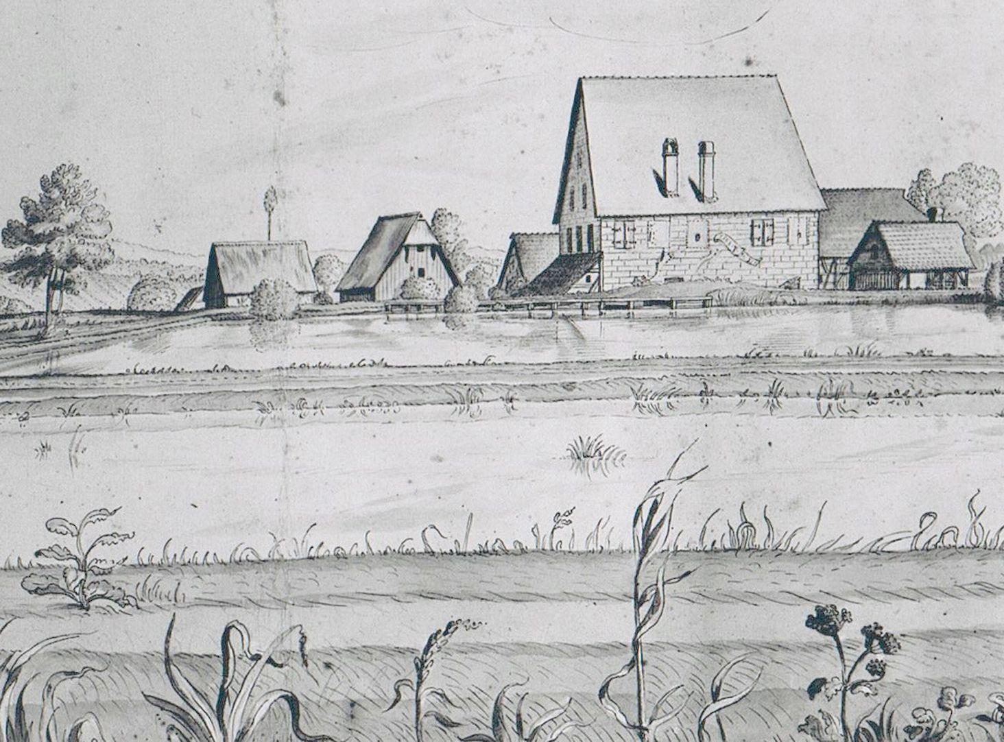 Kleingründlach mit der Obermühle Detailansicht