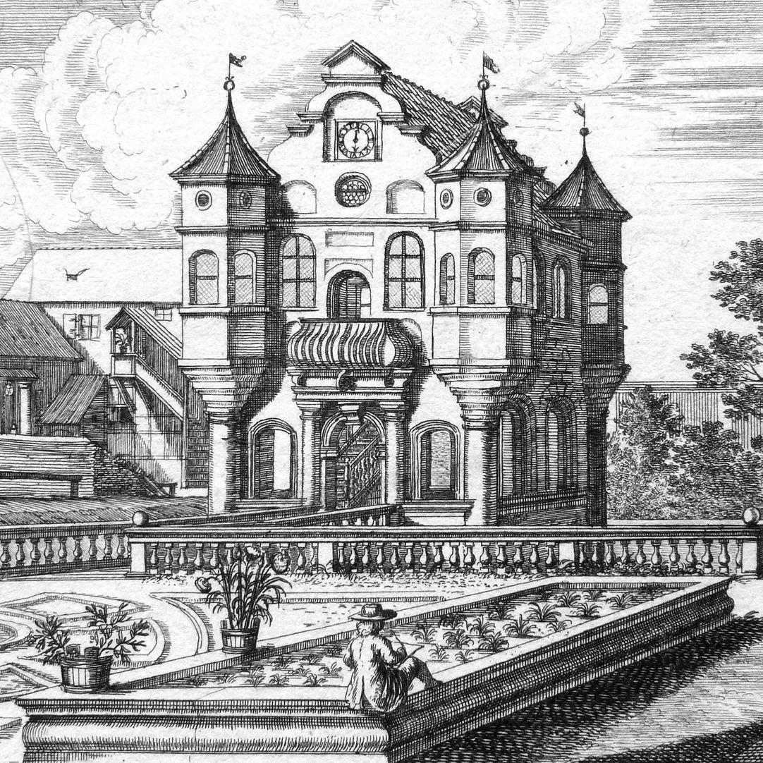 Vargeten=Garten, vor Nürnberg Detail, am unteren Bildrand Rückenansicht eines Zeichners (Johann Andreas Graff ?)