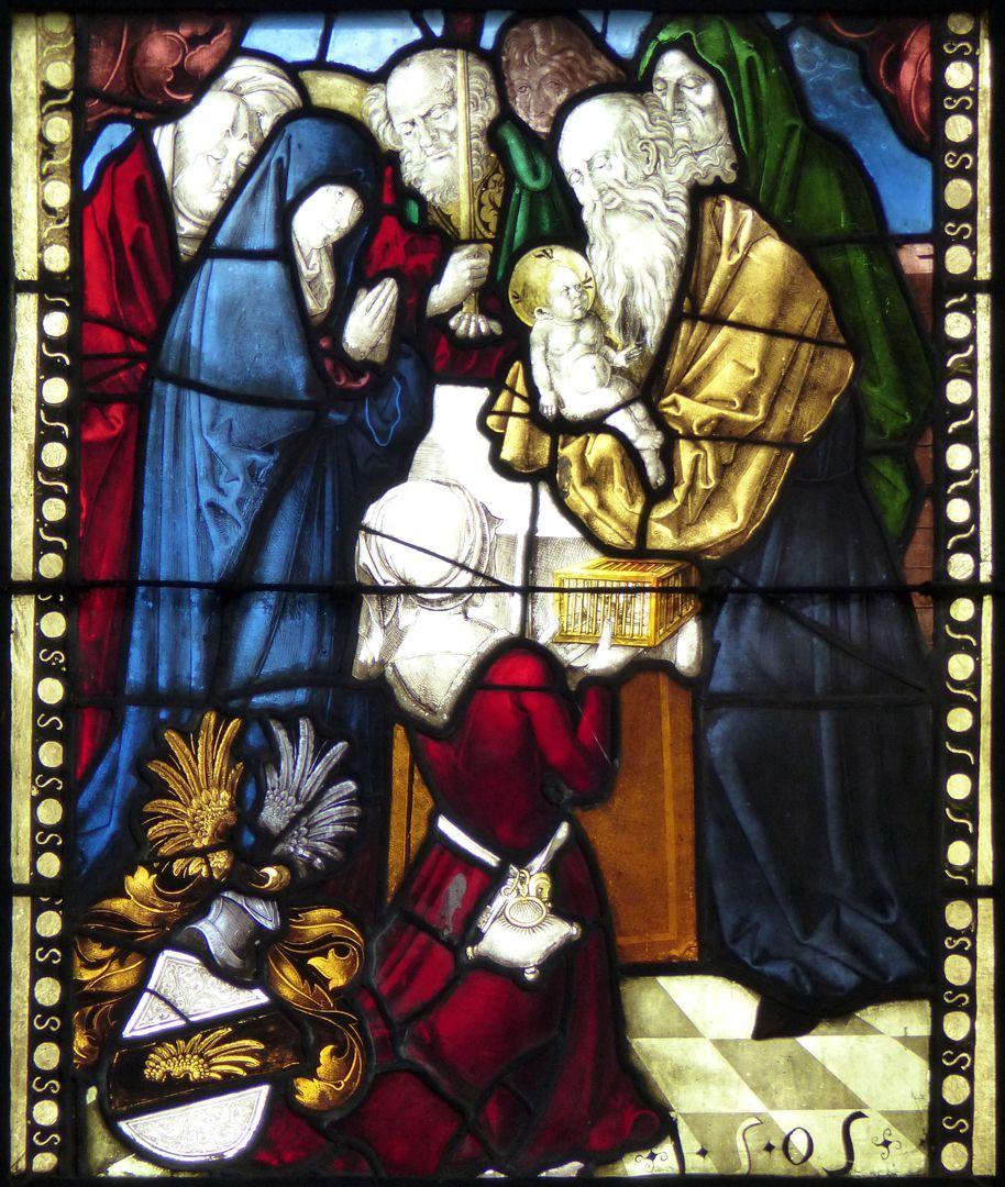 Achsen- bzw. Ostfenster Darstellung im Tempel, Datierung 1505