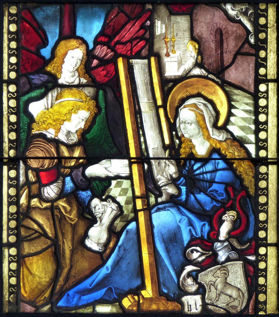 Achsen- bzw. Ostfenster Maria am Webstuhl wird von Engeln umsorgt