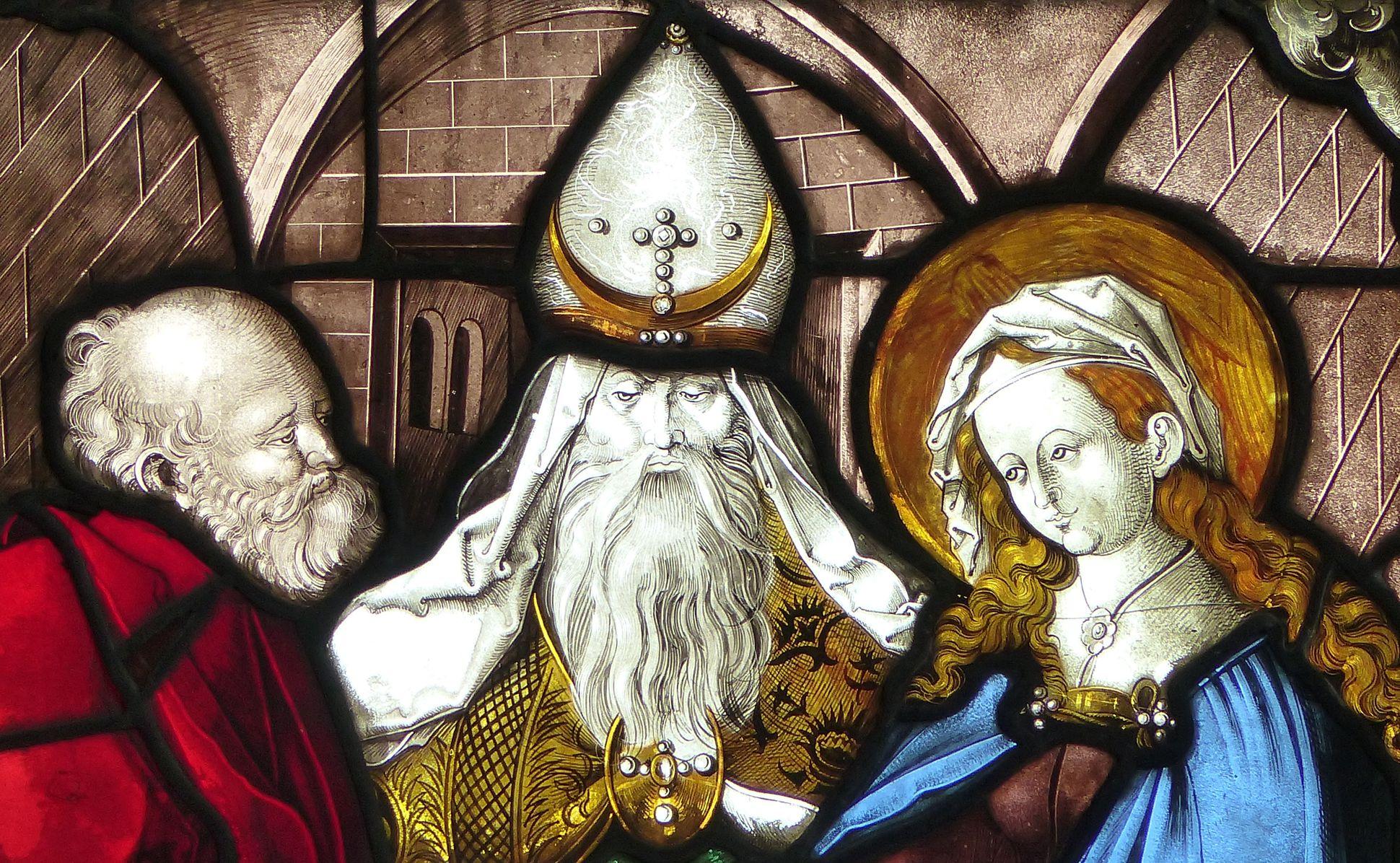 Achsen- bzw. Ostfenster Vermählung Maria und Joseph, Detail