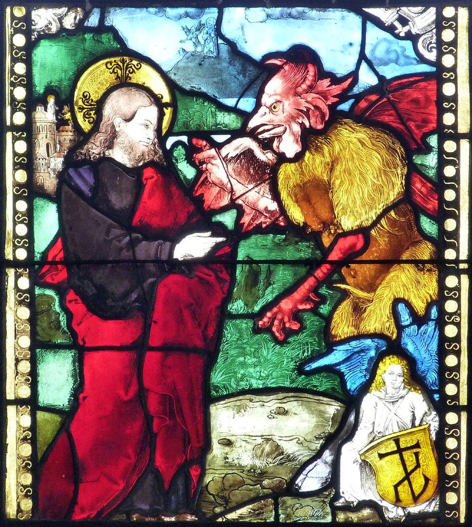 Achsen- bzw. Ostfenster Die Versuchung Christi