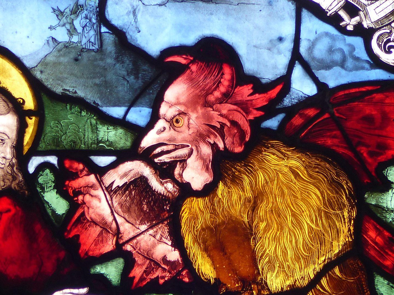 Achsen- bzw. Ostfenster Die Versuchung Christi, Teufel