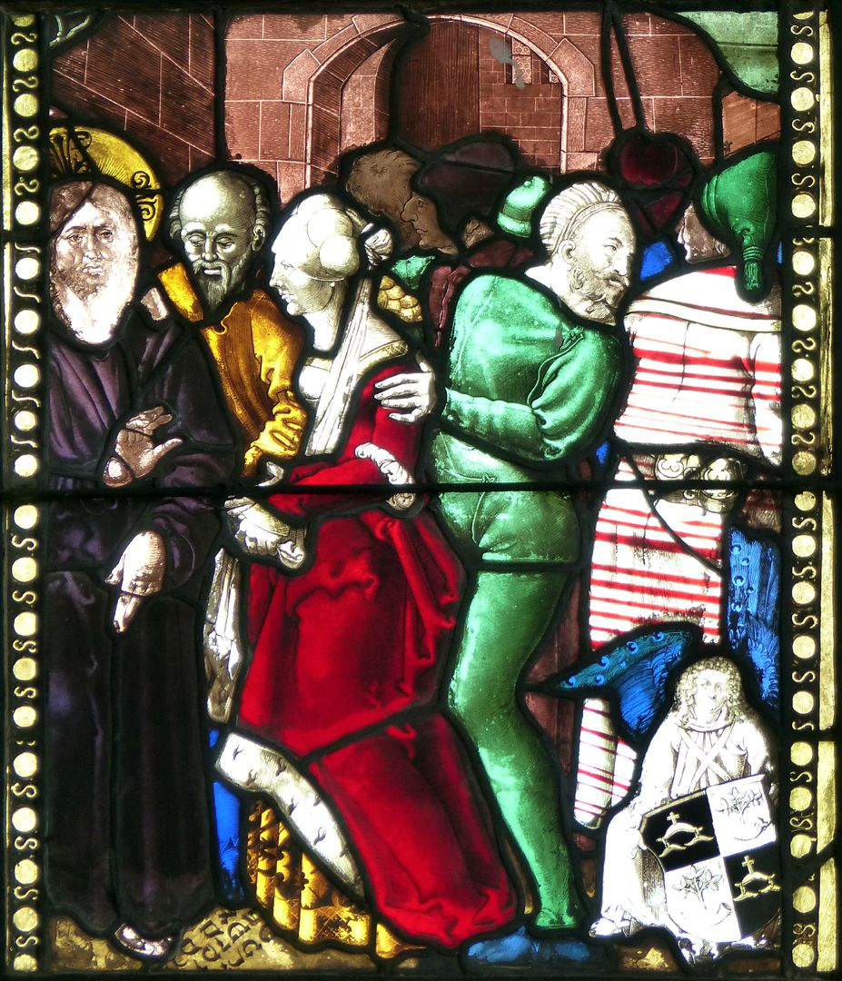 Achsen- bzw. Ostfenster Christus und die Ehebrecherin