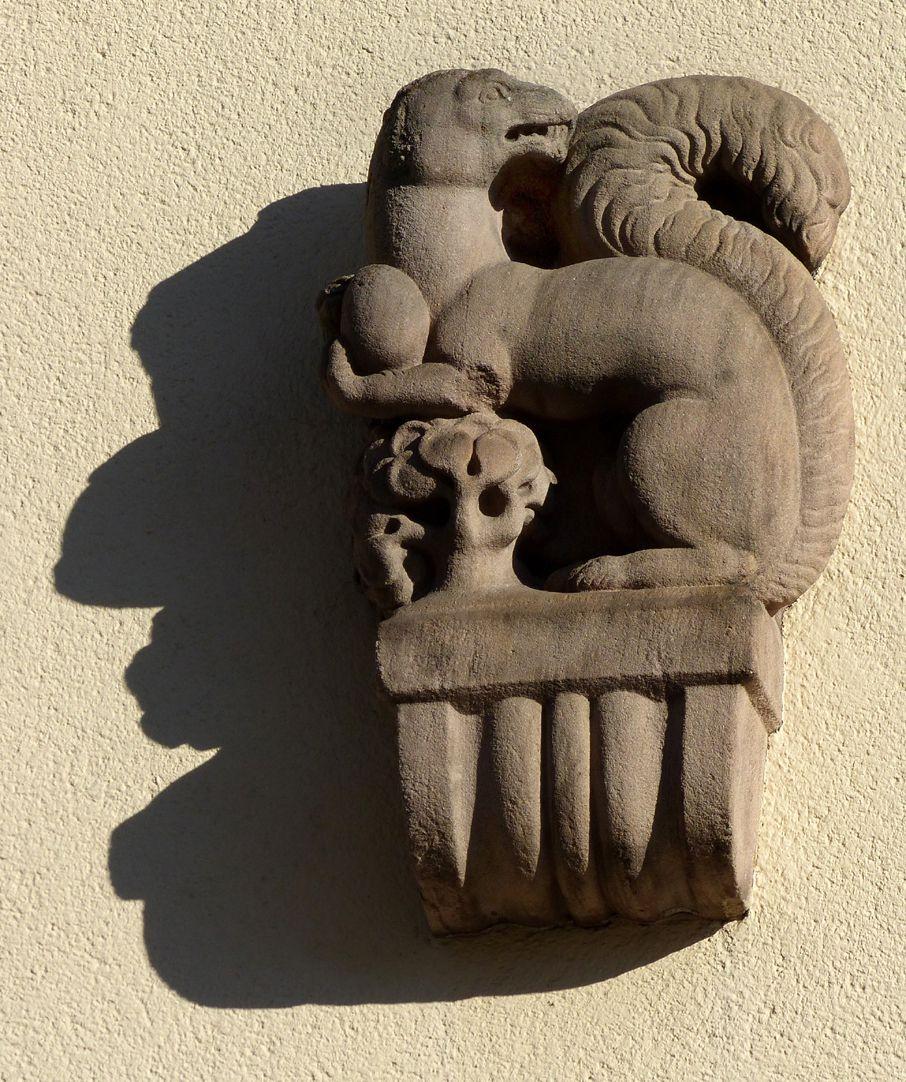 ehemalige Allgemeine Ortskrankenkasse Rückfassade, Mühlgasse, Konsolenfigur (Eichhörnchen mit Nuss von Max Heilmeier)