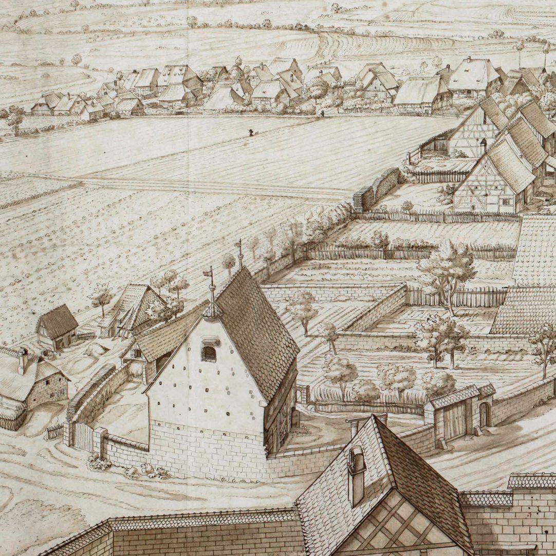 Großgründlach, Ausblick vom Kirchturm nach Süden linke Bildhälfte, Detail