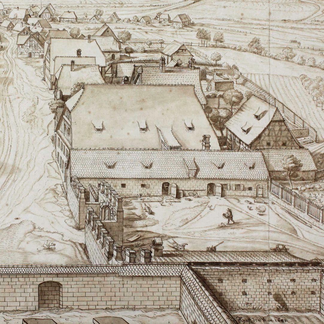 Großgründlach, Ausblick vom Kirchturm nach Süden rechte Bildhälfte, Detail, unten rechts Signatur