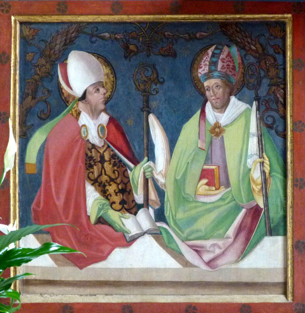 Gutenstettener Altar linker Predellaflügel: Kirchenväter Ambrosius und Augustinus