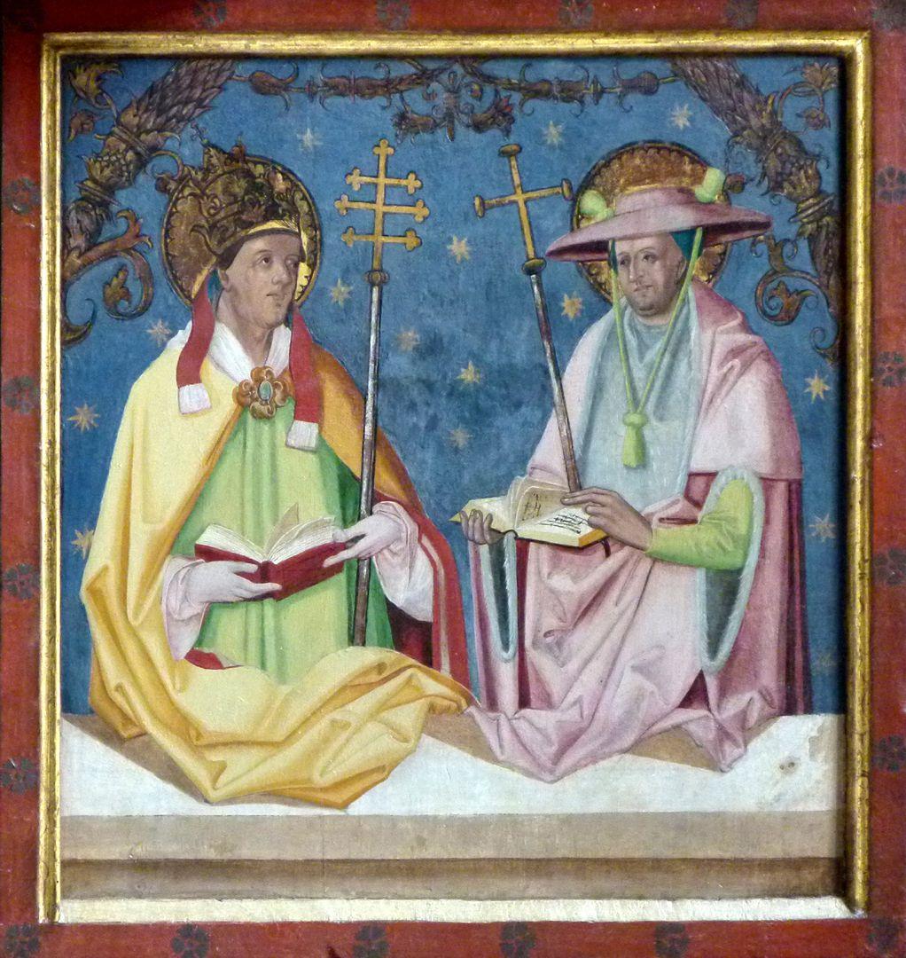 Gutenstettener Altar rechter Predellaflügel: Kirchenväter Gregorius und Hieronymus