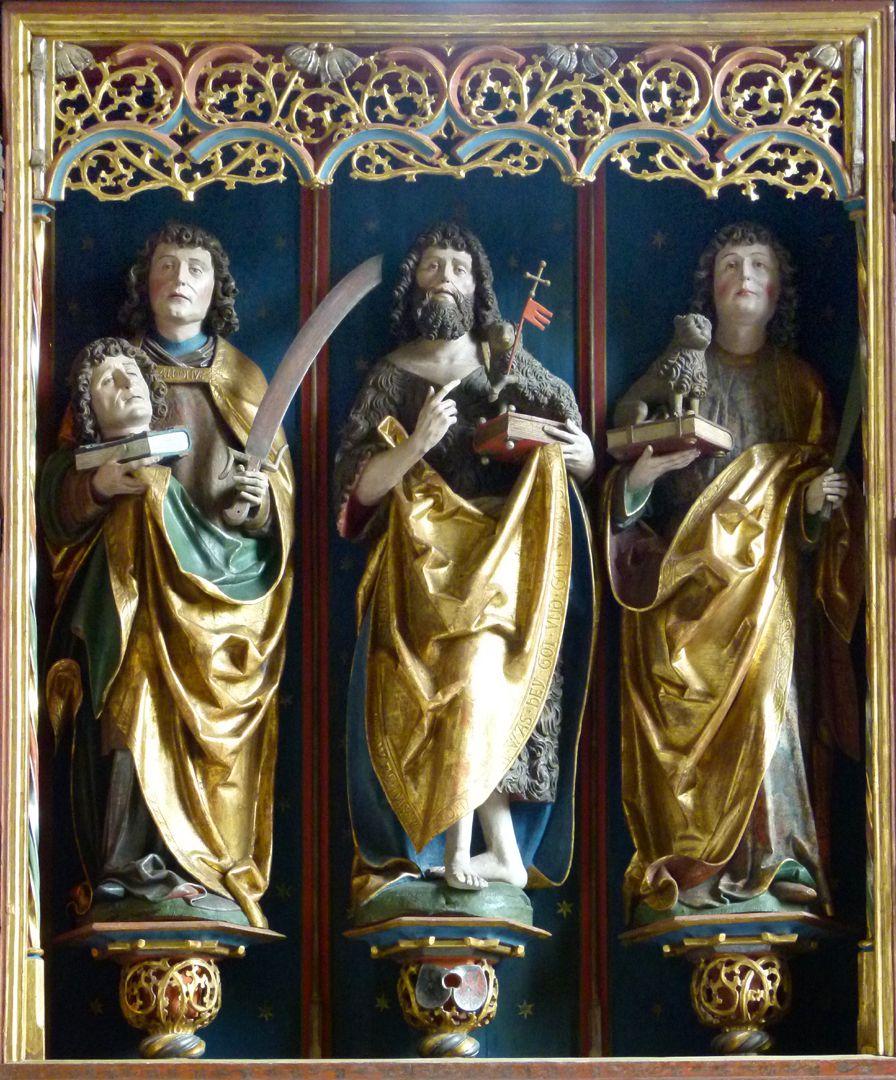 Gutenstettener Altar Altarschrein: von l. nach r.: Dionisius, Johannes d. T. und Cyriakus