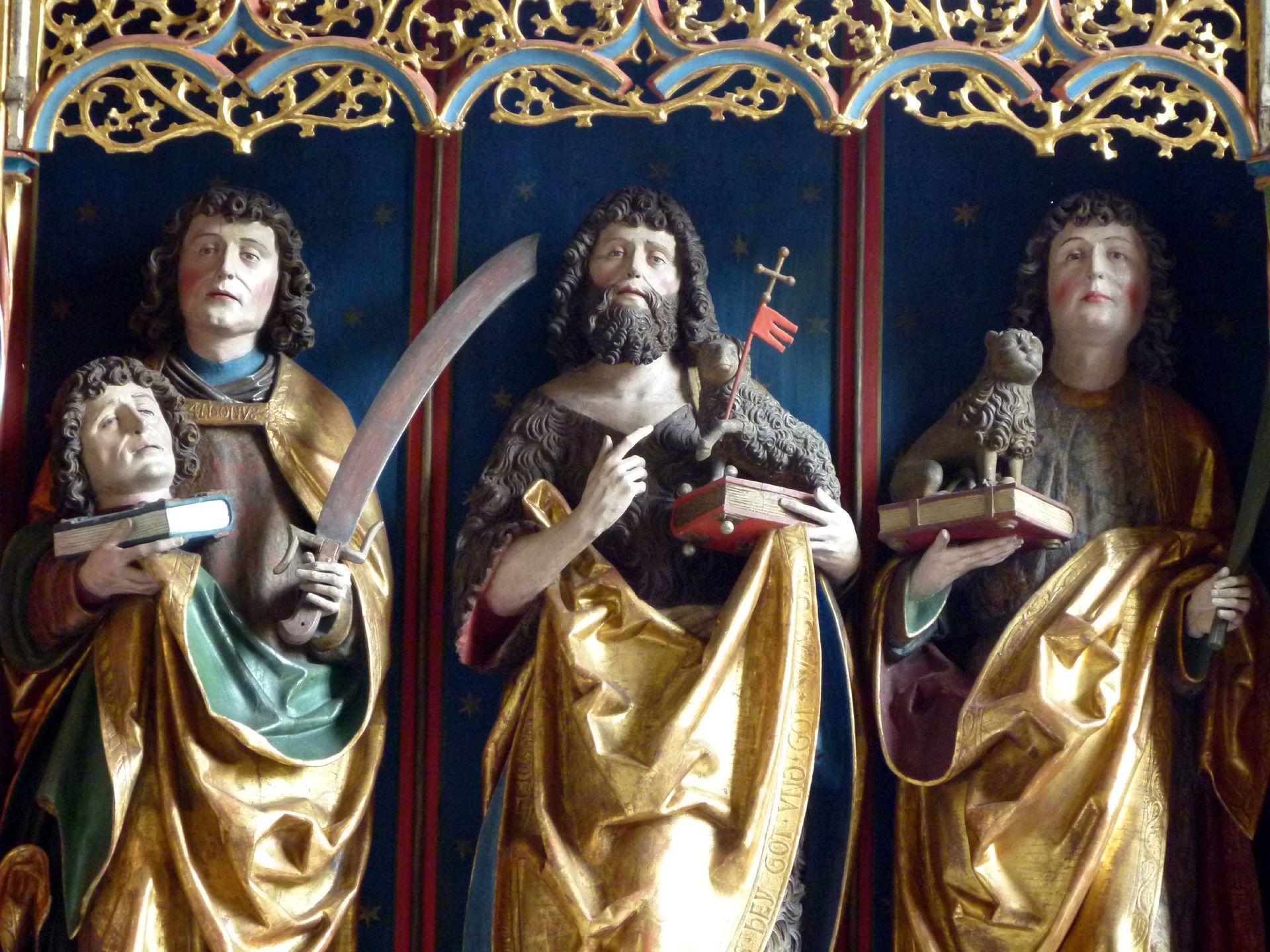 Gutenstettener Altar Altarschrein: von l. nach r.: Dionisius, Johannes d. T. und Cyriakus, Detail