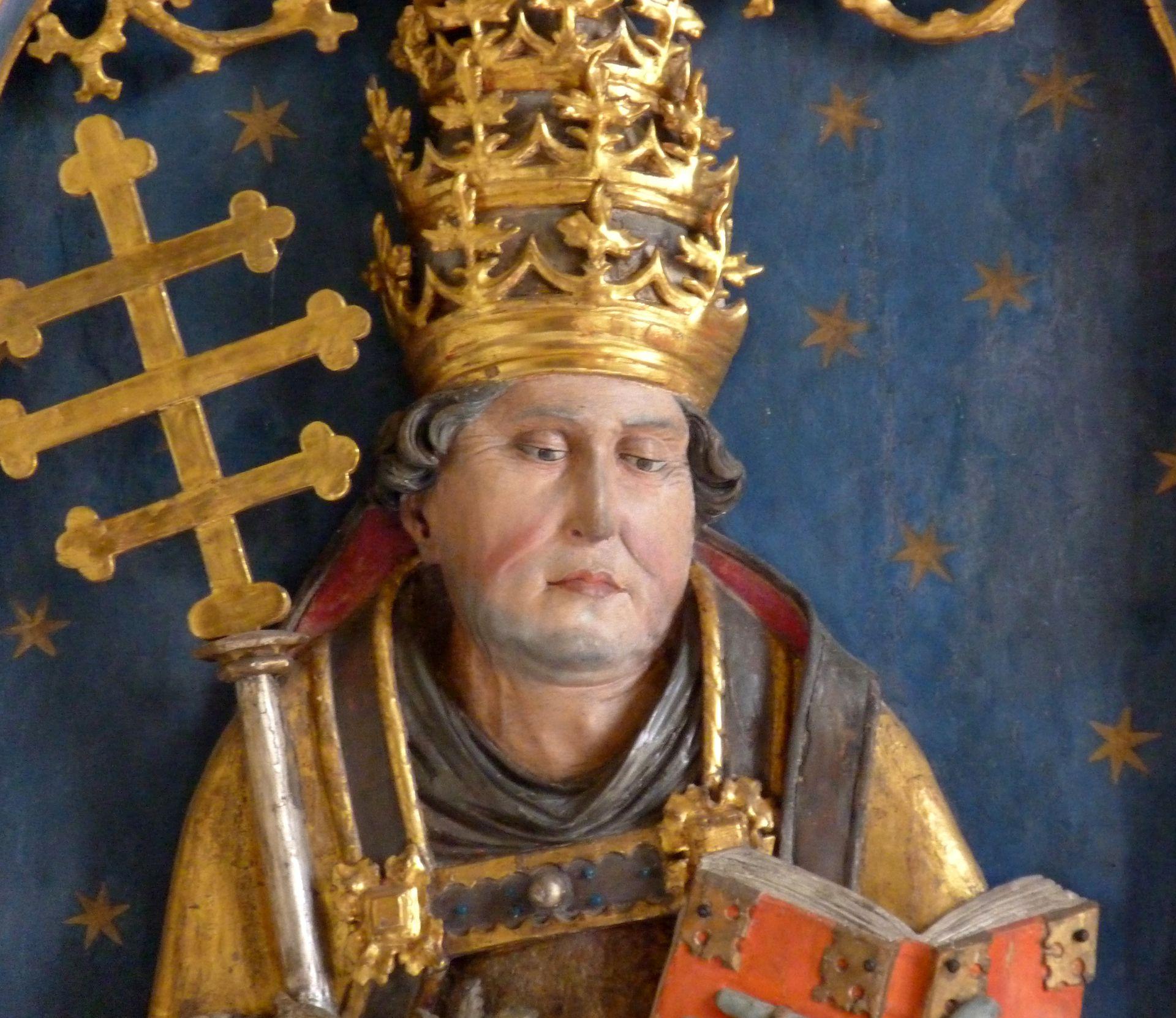 Gutenstettener Altar linker Altarflügel, Relief des hl. Urban, Detail