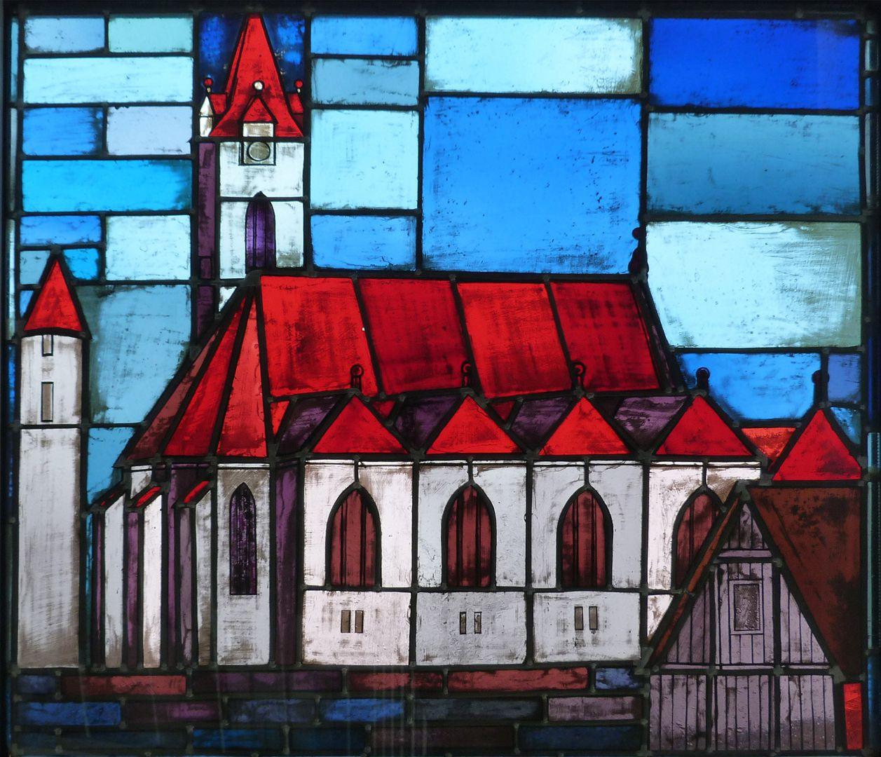 Glasfenster zur Stadtgeschichte Treppenaufgang zum dritten Stock, Jakobuskirche in Schönberg (Eingemeindung 1972)