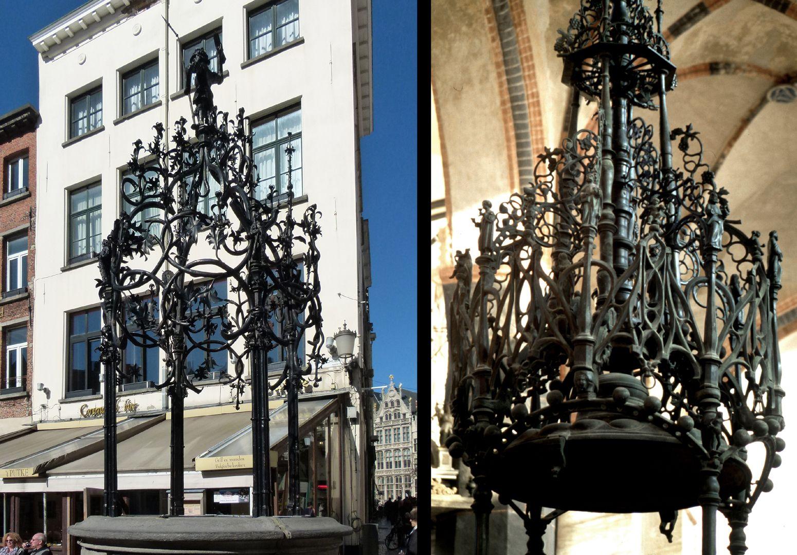 Taufe links: Waterput von Quinten Metsijs in Antwerpen, kurz nach 1500 / rechts: Salzwedel. Man vergleiche die Gemeinsamkeit der arboreszenten Grundkomposition.