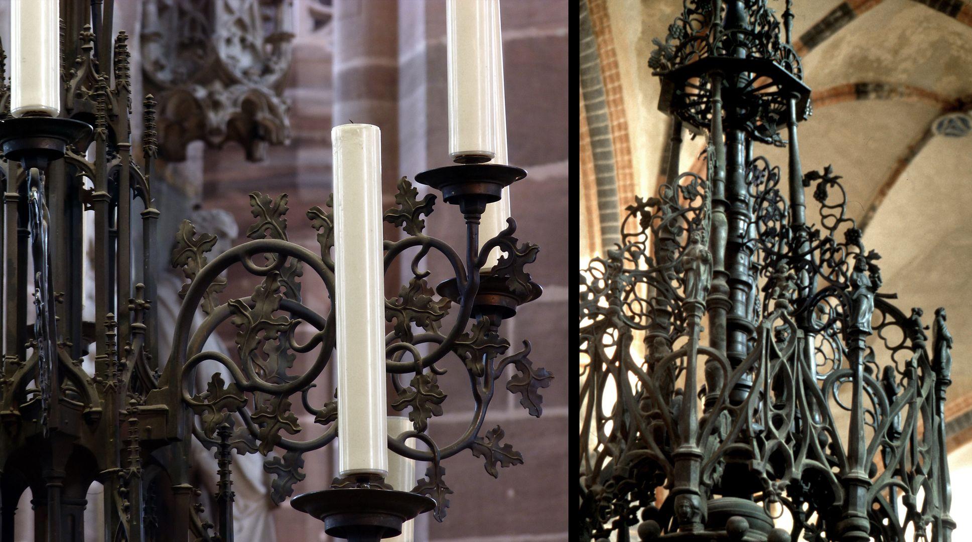 Taufe links: Leuchter von St. Lorenz in Nürnberg, rechts: Detail vom Baldachin