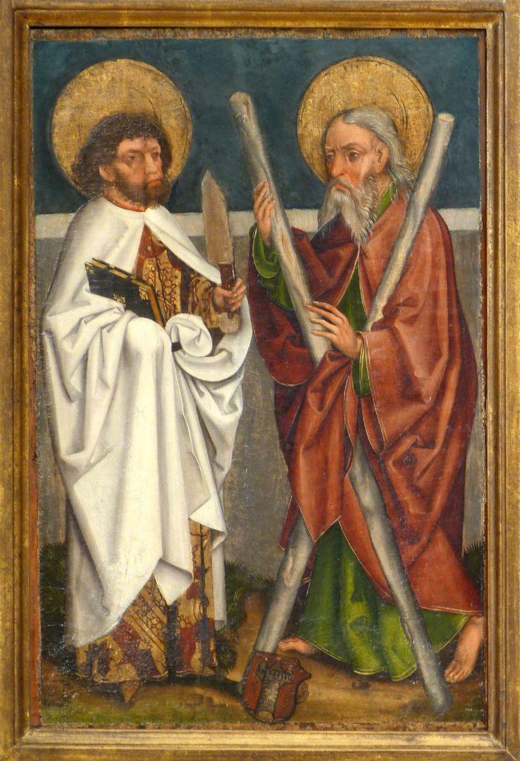 Tafeln des Harsdörffer Altars Bartholomäus und Andreas mit Wappen Harsdörffer
