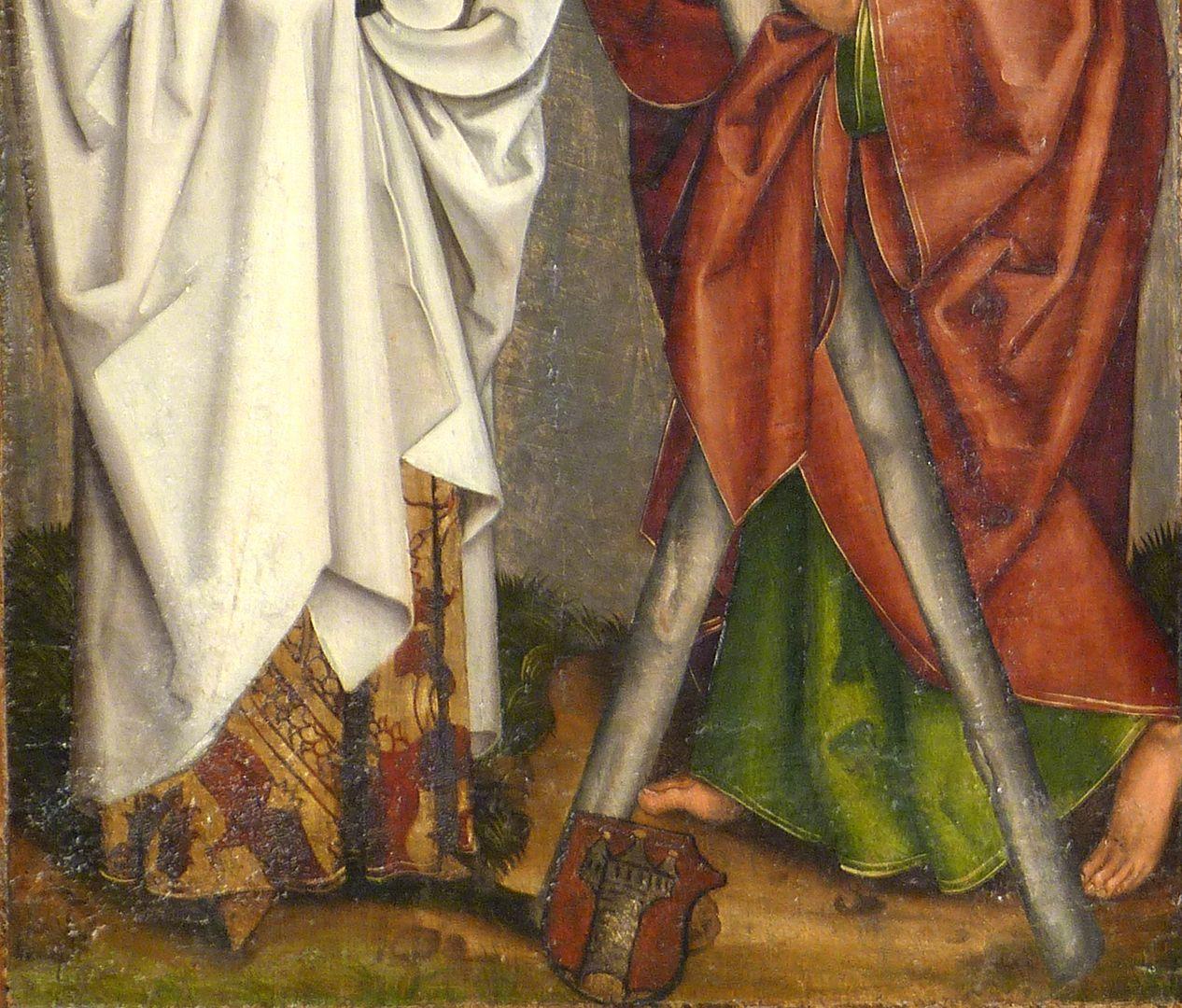 Tafeln des Harsdörffer Altars Bartholomäus und Andreas mit Wappen Harsdörffer, Detail