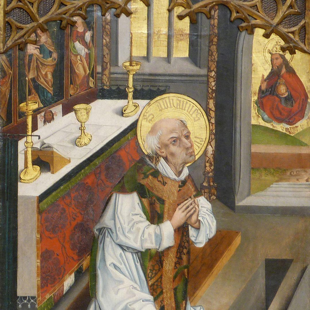 Tafeln des Harsdörffer Altars Gottvater erscheint Johannes am Altar mit Wappen Harsdörffer, Detail