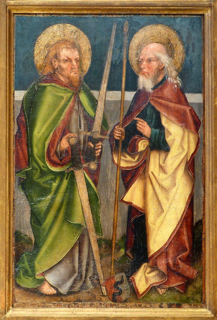 Tafeln des Harsdörffer Altars Matthias und Thomas mit Wappen Behaim