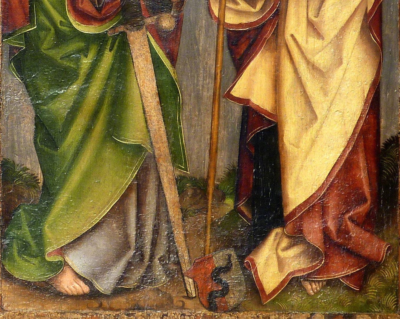 Tafeln des Harsdörffer Altars Matthias und Thomas mit Wappen Behaim, Detail