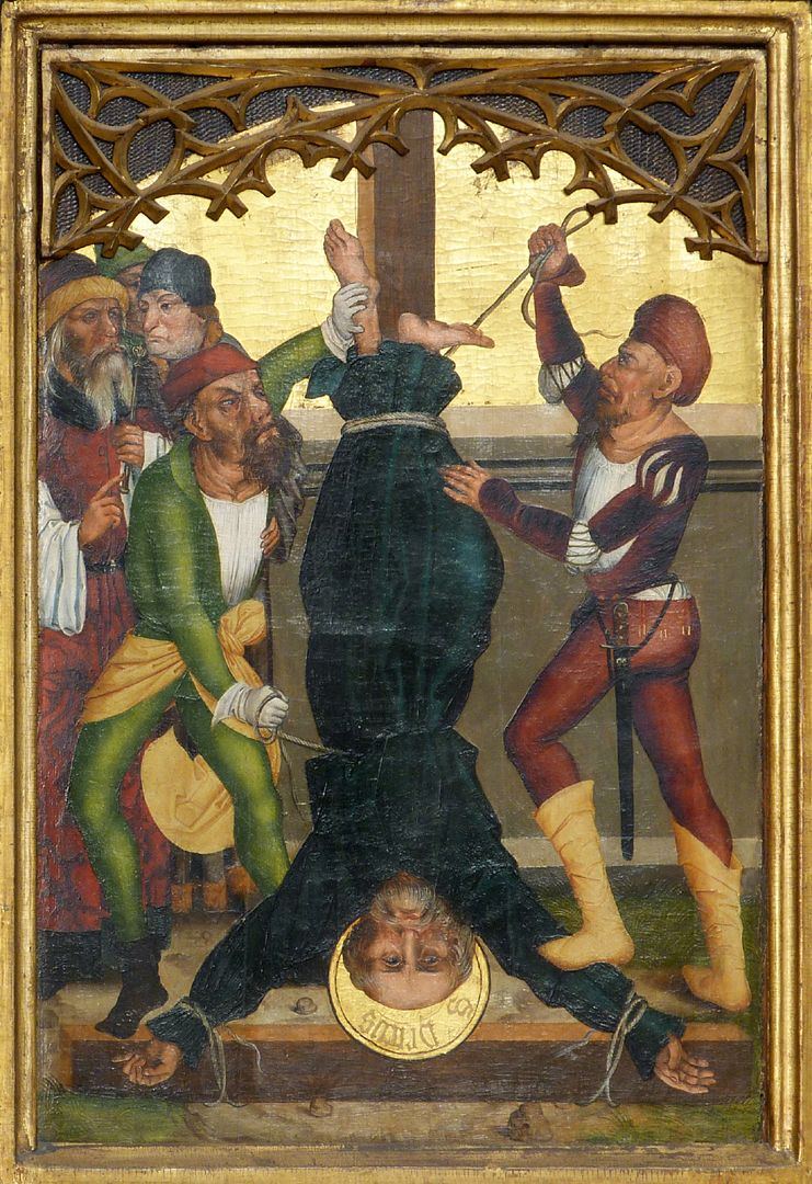 Tafeln des Harsdörffer Altars Kreuzigung des Petrus