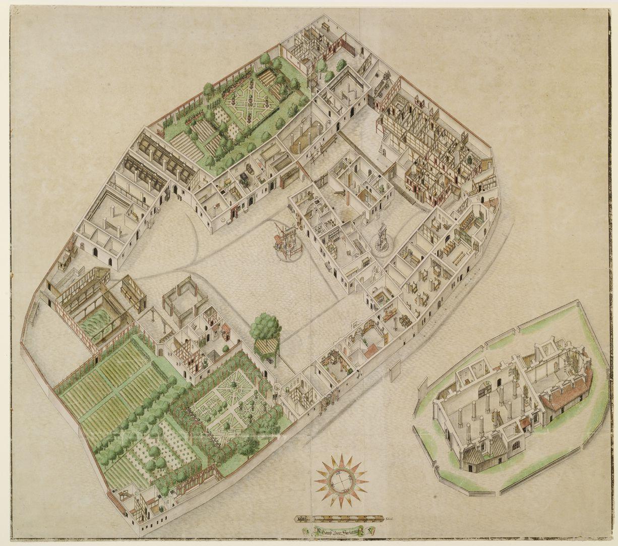 Isometrische Darstellung der Gesamtanlage des Deutschen Hauses in Nürnberg mit Einblick in die Erdgeschosse Gesamtansicht: unten Zier- und Nutzgarten (das westliche Areal war der Wirtschaftsteil), oben der sogenannte Goldarbeiters-Garten, rechts davon die alten Spital und Zinshäuser.