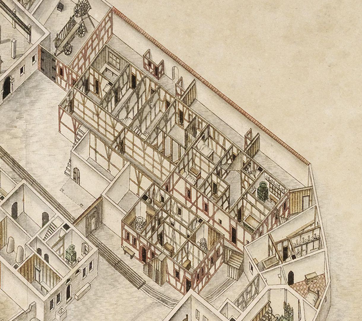 Isometrische Darstellung der Gesamtanlage des Deutschen Hauses in Nürnberg mit Einblick in die Erdgeschosse Detail der alten Spital- und Zinshäuser